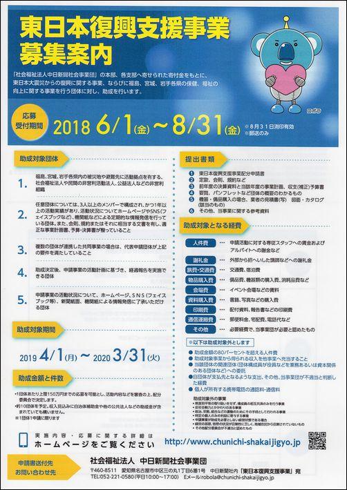 【助成金情報】東日本復興支援事業 「社会福祉法人 中日新聞社会事業団」